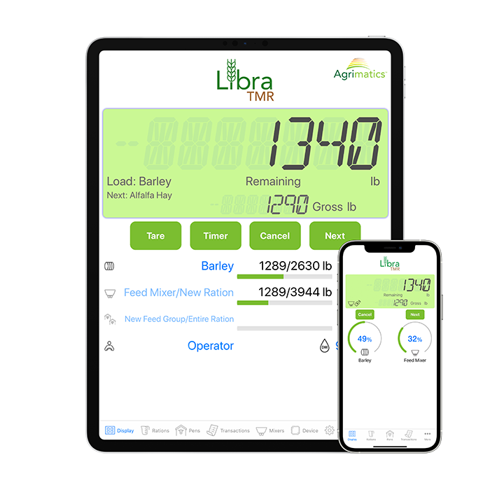 Agrimatics Libra T.M.R. on tablet and smart phone